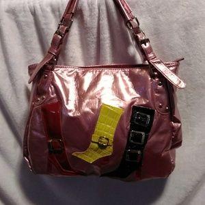 🔷 Large Pink Shiny Boots Shoulder Bag red black L